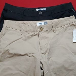 SALE!! 2 x Old Navy Twill Shorts, black and khaki